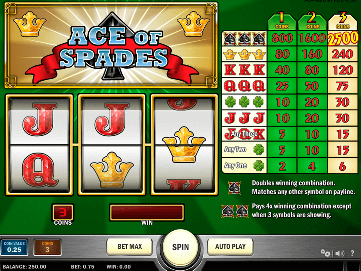 ace of spades playn go casino gokkasten