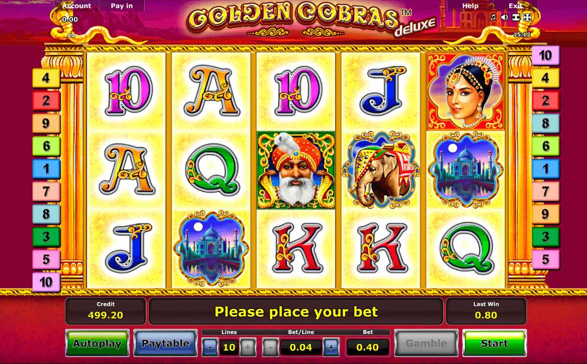 golden cobras deluxe novomatic casino gokkasten