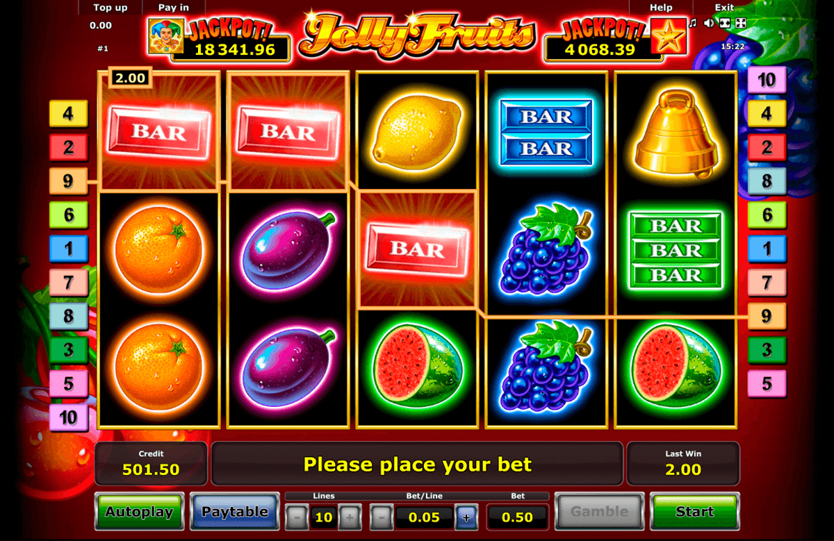 jolly fruits novomatic casino gokkasten