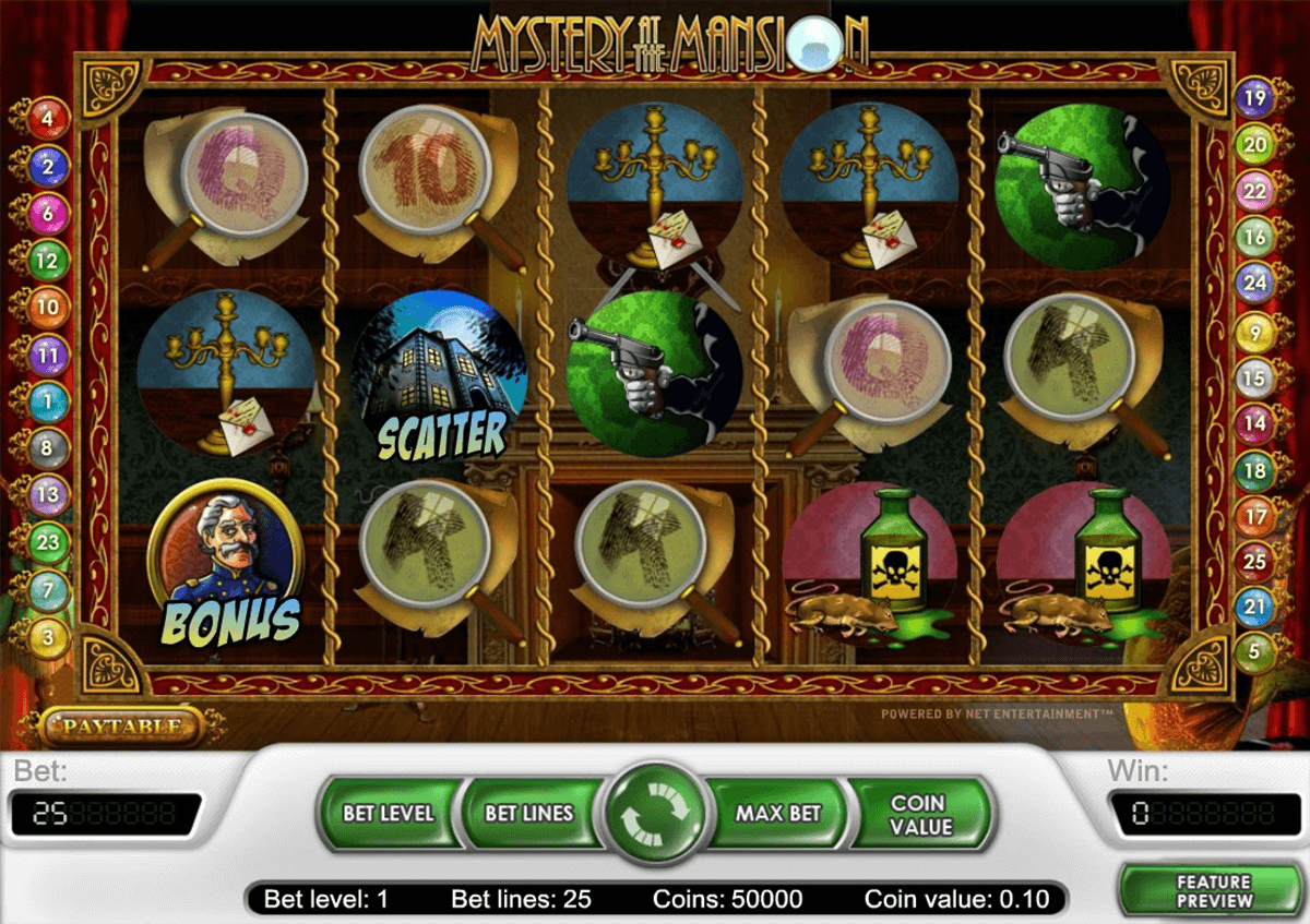 mystery at the mansion netent casino gokkasten