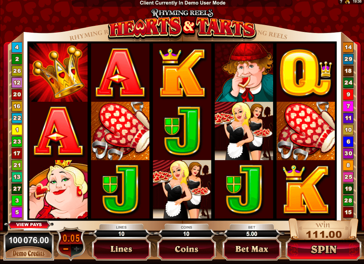 rhyming reels hearts and tarts microgaming casino gokkasten