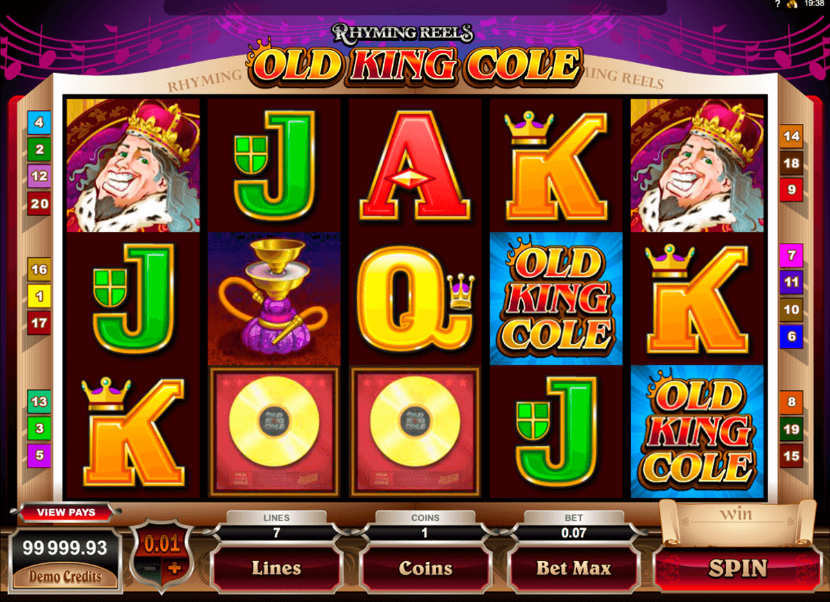 rhyming reels old king cole microgaming casino gokkasten