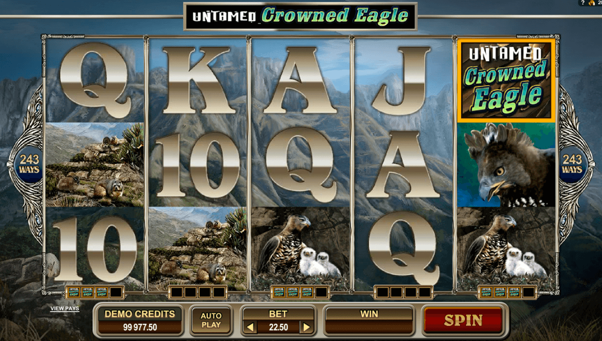 untamed crowned eagle microgaming casino gokkasten